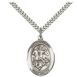 Sterling Silver St. George Pendant with Chain