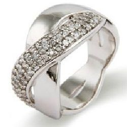 Wide Band Sterling Silver Cubic Zirconia Infinity Ring