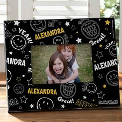 Personalized Black Smiley Face Picture Frame
