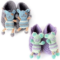 Animal Knit Rattle Booties