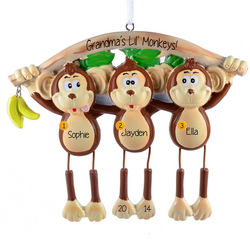 Three Dangling Monkeys Personalized Ornament