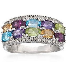 Sterling Silver Multi-Gem Ring
