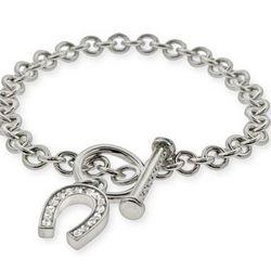 Tiffany Inspired Lucky CZ Horseshoe Toggle Clasp Bracelet