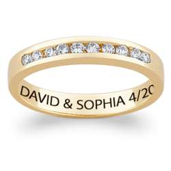 10K Gold Cubic Zirconia Women's Engraved Name Wedding Band