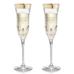 Waterford Essence Wide Gold Band Champagne Flute