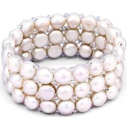 White Freshwater Pearl Stretch Bracelet