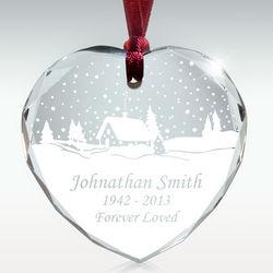 Personalized Winter Wonderland Crystal Heart Memorial Ornament