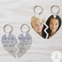 Best Friends Personalized Break Apart Heart Key Ring