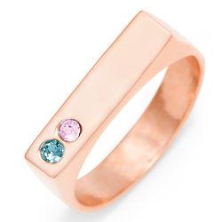 2 Stone Birthstone Rose Gold Name Bar Ring