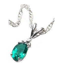 Sterling Silver Created Emerald Oval Pendant