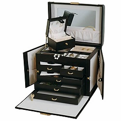 Julietta Black Leather Locking Jewelry Box