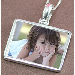 Sterling Silver Engravable Rectangle Photo Necklace