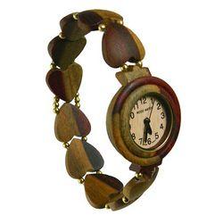 Ladies Heart Bead Dual-Tone Sandalwood Watch