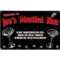 Personalized Martini Bar Sign in Metal
