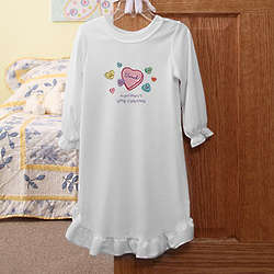 Personalized Candy Hearts Girl's Valentine's Day Nightgown