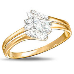 Fire and Ice 10K Gold Ring with Diamonds