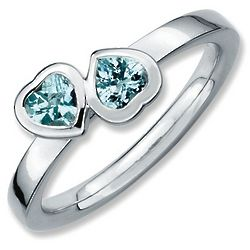 Sterling Silver Double Heart Aquamarine Promise Ring