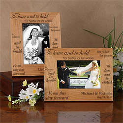 To Have and To Hold Engraved Wood Wedding Photo Frame
