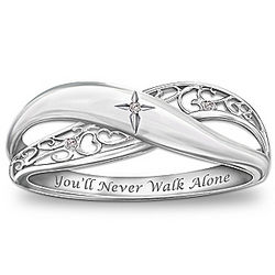 Pure Faith Engraved Sterling Silver Diamond Ring