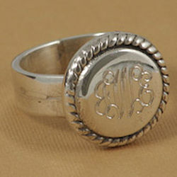 Sterling Silver Personalized Braided Round Ring