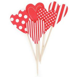 Red Hearts Cupcake Toppers