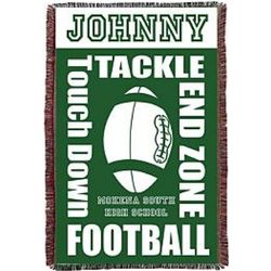 Personalized School Colors Football Throw
