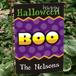 Personalized Happy Halloween Boo Garden Flag