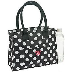 Black and White Polka Dot Monogrammed Tote Bag