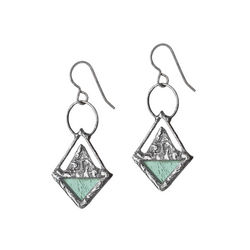 Handcrafted Triangle Stained Glass Earrings