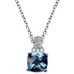 Checkerboard Blue Topaz & Diamond Filigree Pendant