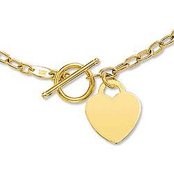 14k Yellow Gold Toggle Heart Necklace