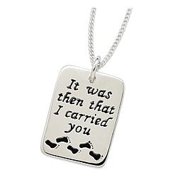 Sterling Silver Footprints Sentiment Pendant
