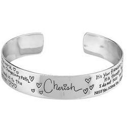 Sterling Silver Cherish Wide Bangle Bracelet