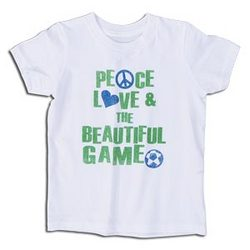 """Peace Love & The Beautiful Game"" Youth T-Shirt"
