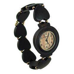 Ladies Heart Bead Ebony Sandalwood Watch