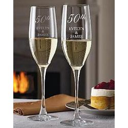 Engraved Anniversary Year Champagne Flutes