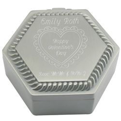 Personalized Pewter Finish Hexagon Box with Heart