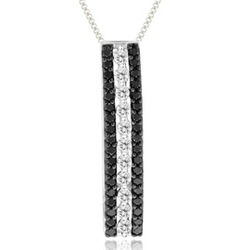 1/4 cts Black & White Diamond Pendant in 14K White Gold