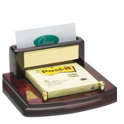 Mahogany Piano Finish Desktop Business Card & Post-It Holder