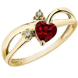 Created Ruby Heart Ring with Diamonds
