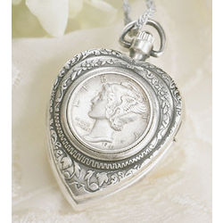 Silver Mercury Dime Heart Pendant and Watch