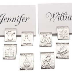 Holiday Pewter Place Card Holders
