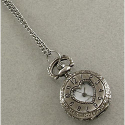 Antique Silver Watch Locket Necklace with Heart