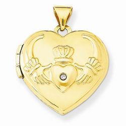 14K Gold Claddagh Heart Locket