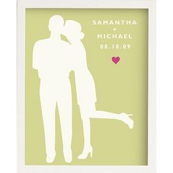 Couple Silhouette Art with White Frame