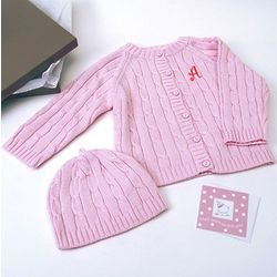Baby Girl Knit Sweater and Hat Set