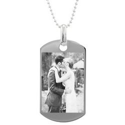 Custom Photo Medium Sterling Silver Dog Tag