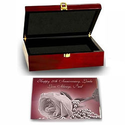 Anniversary or Wedding Rosewood Memory Box with Silver Accents