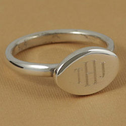 Sterling Silver Personalized Horizontal Oval Ring
