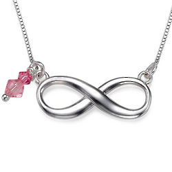 Infiniti Necklace with Pink Swarovski Crystal